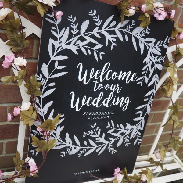 Chalkboard print wedding sign