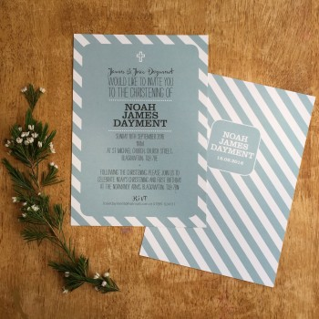 Candy Stripe Christening/Baptism invitations